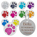 Etiqueta de identificação para cães e gatos com decoração em forma de pata com ...