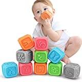 Brinquedos para bebês, cubos empilháveis de 6 meses, bebês, blocos para bebês, dentição, mastigações, brinquedos para bebês, brinquedos educativos, jogos por números, animais, por 6 a 36 meses