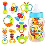 NUOLUX chocalhos chocalho vibratório para bebês e crianças 9 peças (cor aleatória)