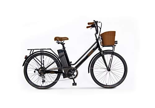 Bicicleta elétrica Revoe, bicicleta urbana.  Preto, rodas de liga leve, 26 '', velocidade máxima 25 km / h, alcance 45 km