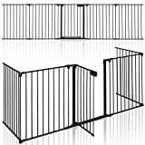 Portão de segurança KIDUKU® de 305 cm para crianças e animais de estimação |  Porta de proteção da chaminé - Pré-montada |  Barreira anti-capotamento para portas ou escadas - 5 painéis