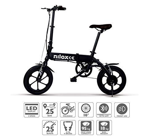 Nilox Doc X2 Plus, bicicleta elétrica dobrável, motor 36V unissex - adultos, preta, tamanho único