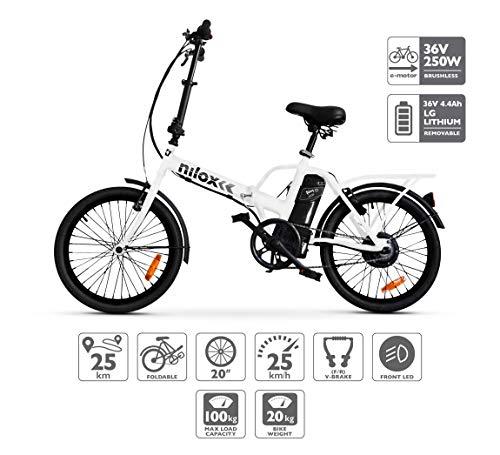 Bicicleta dobrável elétrica Nilox Doc X1, motor 36V, unissex, adulta, branca