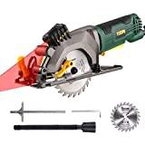 Serra circular 580W, mini serra circular TECCPO 3500RPM, guia laser, lâmina de serra ...