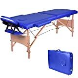 Cama de massagem de madeira dobrável Wellhome com 2 zonas Camas de massagem portáteis ...