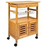 Carrinho de cozinha ONVAYA®   Carrinho de cozinha de madeira   Branco   Bamboo   ...