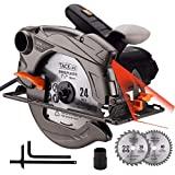 Serra circular TACKLIFE 1500W 4700 rpm com laser, 2 lâminas (185 mm), profundidade e ...