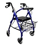 Auxiliar de caminhada ultraleve de alumínio com 4 rodas dobráveis com cesto ...