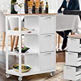 Carrinho de cozinha MIADOMODO® com rodízios - madeira de pinho, 67x37x87,5 cm, 3 ...