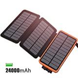 Carregador Solar FEELLE 24000mAh, bateria externa portátil com 3 painéis ...