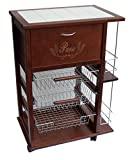 Maslegno Vesuvio - carrinho de cozinha com gaveta para pão e porta-garrafas ...