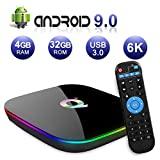 Android TV BOX, Q PLUS Android 9.0 TV BOX 4 GB de RAM / 32 GB ROM H6 Quad-Core ...