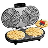 Placa waffle dupla 1200W, 10 corações waffle ao mesmo tempo, ferro waffle de aço ...