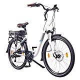 NCM Munich Bicicleta elétrica urbana, bicicleta de turismo, bateria de 250 W, 36 V 13Ah 468 Wh, (26 'branco)