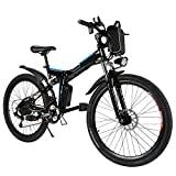 ANCHEER Bicicleta de montanha elétrica dobrável Bicicleta elétrica dobrável de 26 polegadas com bateria de lítio (36 V, 250 W) Suspensão total de 21 velocidades Premium e Shimano Shifter (preto dobrável)
