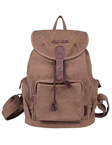 2. DGY - Mochila elegante em lona e couro PU E00117 - Uma mochila simples e prática