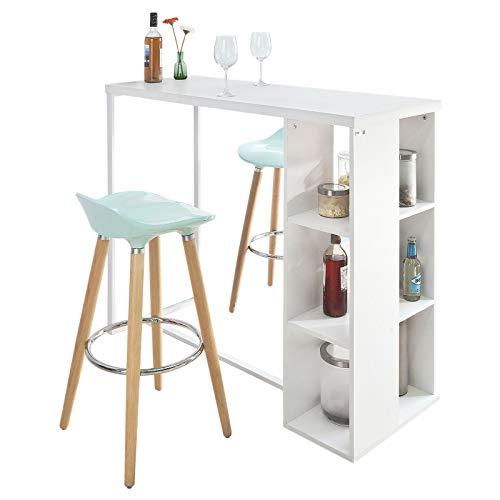 SoBuy® FWT39-W Mesa alta para bar Mesa alta para cozinha com 3 prateleiras - branca