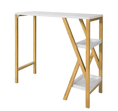 SoBuy FWT56-W mesa mesa alta mesa alta mesa de jantar cozinha com 2 apoios para os pés em forma de K (branco)