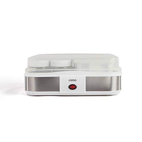 LIVOO DOP156 Fabricante de iogurte caseiro, branco |  Potes de iogurte 210ML X 12, queijo cremoso 1,2L, 1,2L, cinza
