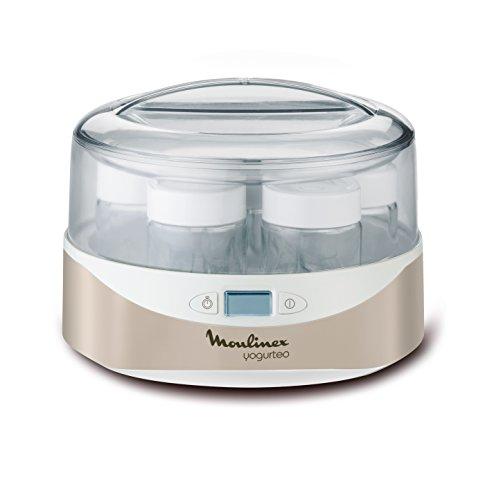 Moulinex YG231E32 Máquina de iogurte para iogurte 7 potes de iogurte incluindo cronômetro e tela LCD programável de 13 W prata