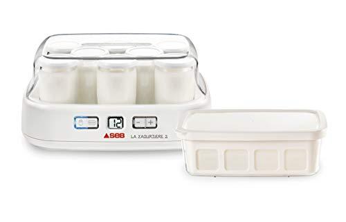 Seb YG500100 Duetto Yogurt Maker 8 potes de iogurte com cronômetro de queijo cottage programável e tela LCD branca de 30 W