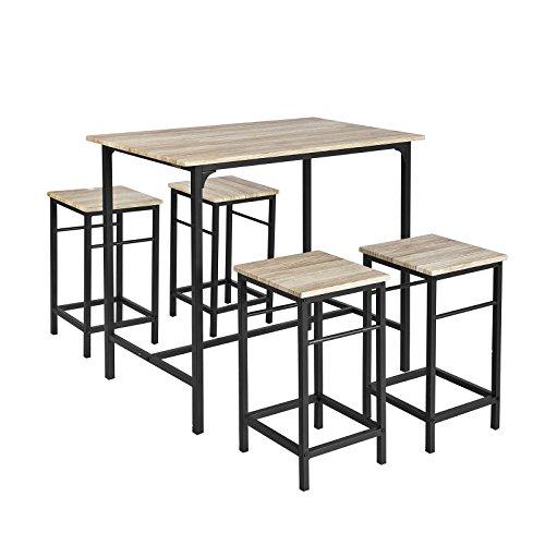 Conjunto SoBuy OGT11-N com 1 mesa + 4 bancos Conjunto mesa bar bistrô + 4 bancos com apoio para os pés Mesa alta da cozinha