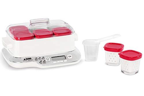 Seb Multidelices Express Compact Yogurt Maker 6 copos vermelhos, iogurte caseiro, 5 programas automáticos, sobremesas lácteas, queijos brancos e sobremesas suaves, copos de 140 ml, 100% sem BPA YG660100